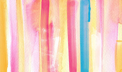 Girls Mixed Media - Umrbrella Stripe- Contemporary Abstract Painting by Linda Woods