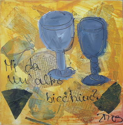 Italian Wine Drawing - Un Altro Bicchiere by Sonja  Zeltner