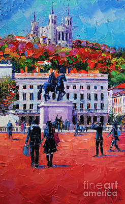 Architecture Painting - Un Dimanche A Bellecour by Mona Edulesco