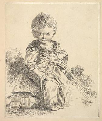 Un Enfant Assis Sur Une Motte De Terre Art Print by Madame la Marquise de Pompadour