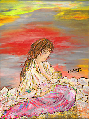 Caring Mother Mixed Media - Un Pensiero Costante by Loredana Messina