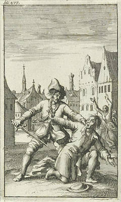 Aggressive Drawing - Unarmed Man Is Threatened In The Street By A Man by Jan Luyken And Jan Bouman