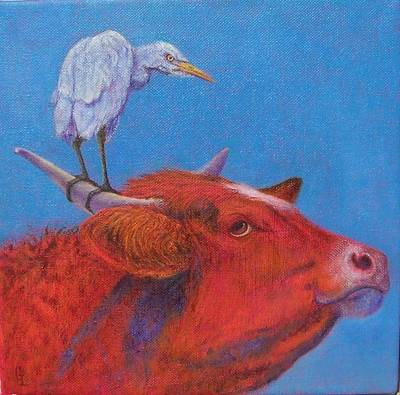 Cattle Egret Painting - Unauthorized Landing by Georgina  Love