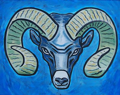 Ram With Sky Blue Art Print