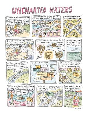 Boats In Water Drawing - 'uncharted Waters' by Roz Chast