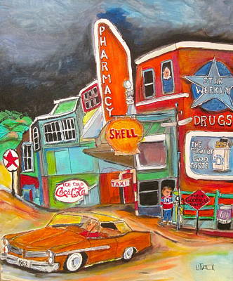Texaco Sign Painting - Uncle Nutty's St. Agathe 1960's by Michael Litvack