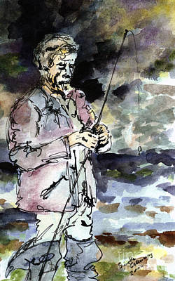 Uncle Paul Fishing In The Pyrenees Mountains Art Print