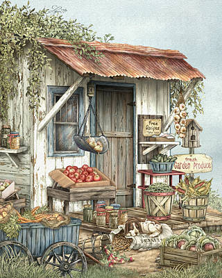 Vegetable Stand Painting - Uncle Ralph's Veggies by Beverly Levi-Parker