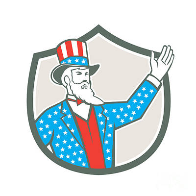Uncle Sam Digital Art - Uncle Sam American Hand Up Shield Retro by Aloysius Patrimonio