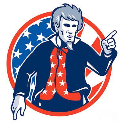 Uncle Sam Digital Art - Uncle Sam American Pointing Finger Flag Retro by Aloysius Patrimonio