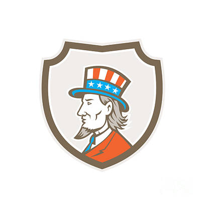 Uncle Sam Digital Art - Uncle Sam American Side Shield Crest by Aloysius Patrimonio