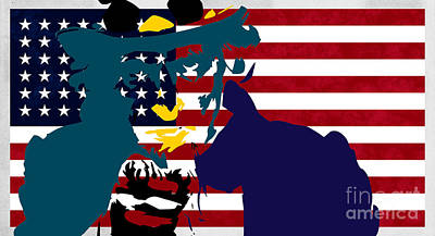 Contemporary Painting - Uncle Sam And The Stars And Stripes by T Lang