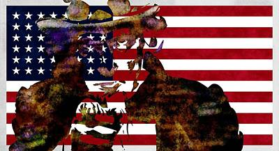 Usa Flag Digital Art - Uncle Sam And The Usa Flag by T Lang
