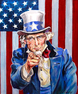 Uncle Sams Hat Painting - Uncle Sam by Jan Mecklenburg
