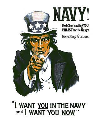 World War One Digital Art - Uncle Sam Navy Enlistment Poster  1917 by Daniel Hagerman