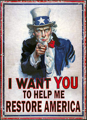 Liberal Digital Art - Uncle Sam Needs Help by Daniel Hagerman