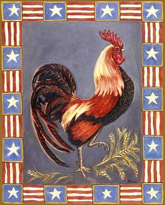 Chickens Painting - Uncle Sam The Rooster by Linda Mears