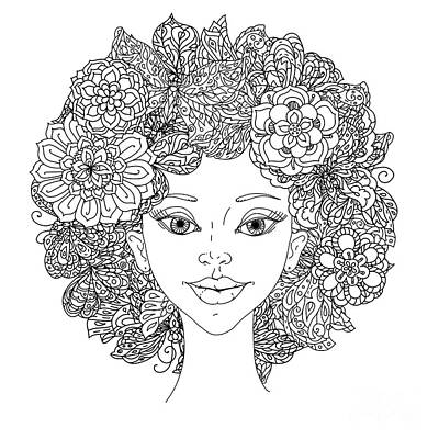 Portraits Digital Art - Uncolored Girlish Face For Adult by Mashabr