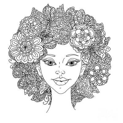 Mandala Wall Art - Digital Art - Uncolored Girlish Face For Adult by Mashabr