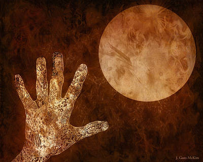 Emotion Mixed Media - Under A Copper Moon by Jo-Anne Gazo-McKim