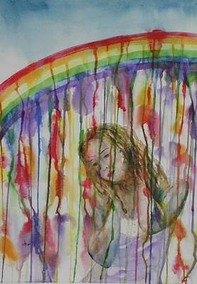 Art Print featuring the painting Under A Crying Rainbow by Anna Ruzsan