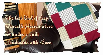 Quilts For Sale Photograph - Under A Quilt Handmade With Love by Barbara Griffin