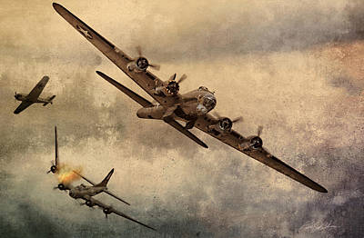 B-17 Wall Art - Digital Art - Under Attack by Peter Chilelli