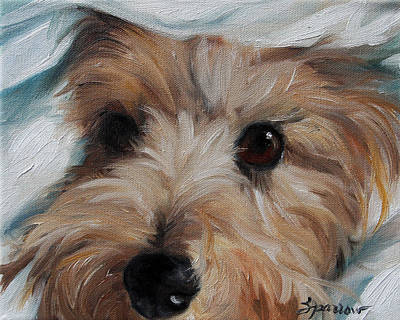 Puppy Lover Painting - Under Cover by Mary Sparrow