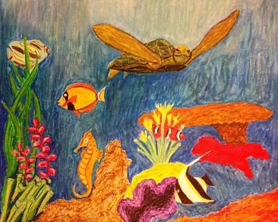 Clown Fish Drawing - Under Da Sea by Kolene Parliman