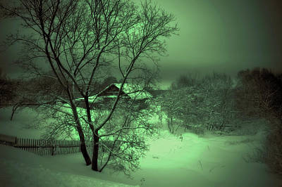 Under Green Moon Print by Jenny Rainbow
