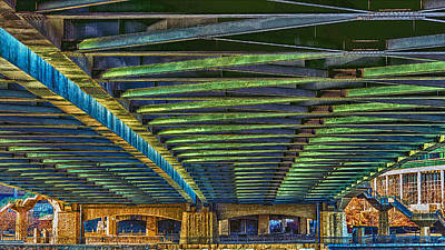 Under Hennepin Avenue Bridge Print by Bill Tiepelman