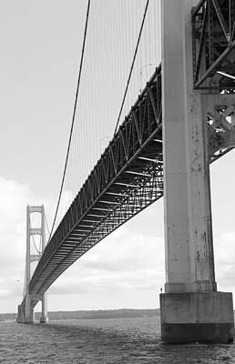 Photograph - Under Mighty Mac Lake Michigan Black And White by Bill Woodstock