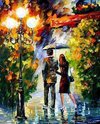 Under My Umbrella - Palette Knife Oil Painting On Canvas By Leonid Afremov Original by Leonid Afremov