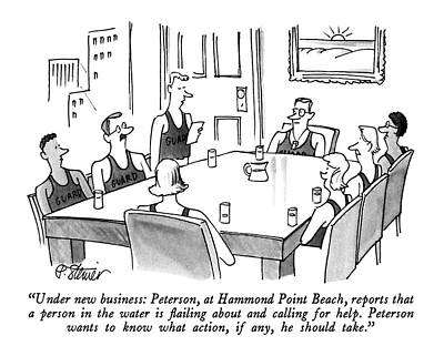 Boardroom Drawing - Under New Business: Peterson by Peter Steiner
