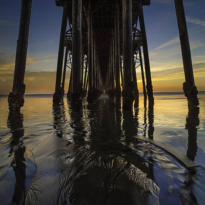 Long Exposure Photograph - Under The Oceanside Pier 2 by Larry Marshall