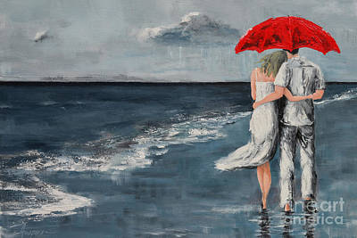 Rainy Painting - Under Our Umbrella - Modern Impressionistic Art - Romantic Scene by Patricia Awapara