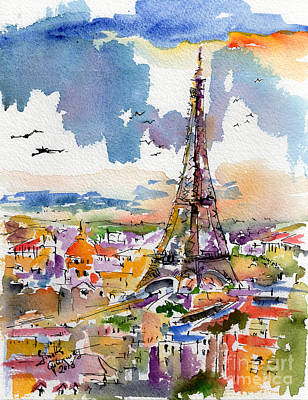 Eiffel Tower Painting - Under Paris Skies Eiffel Tower by Ginette Callaway