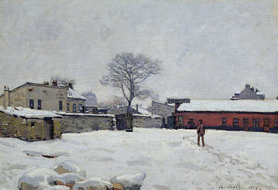 Snow Scene Painting - Under Snow The Farmyard At Marly-le-roi, 1876 by Alfred Sisley