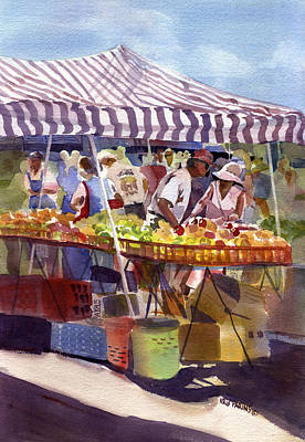 Awnings Painting - Under The Awning by Kris Parins