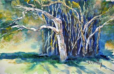 Art Print featuring the painting Under The Banyan Tree by Sally Simon