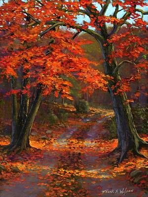 Autumn Scene Painting - Under The Blazing Canopy by Frank Wilson