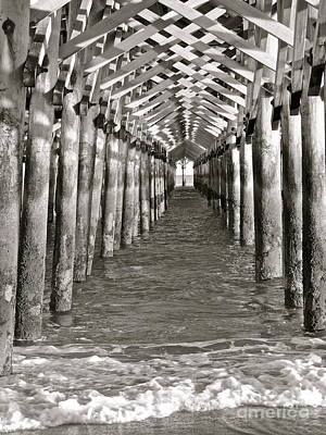 Photograph - Under The Boardwalk - B/w by Eve Spring