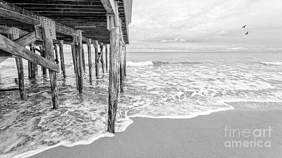 Modern Sophistication Beaches And Waves Royalty Free Images - Under the boardwalk black and white Royalty-Free Image by Edward Fielding