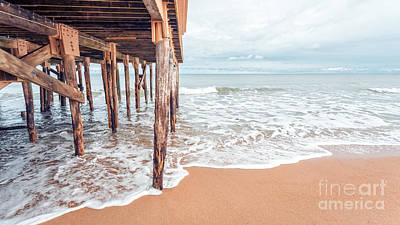 Under The Boardwalk Salsibury Beach Art Print by Edward Fielding