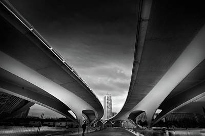 Perspective Photograph - Under The Bridge by Santiago Pascual Buye