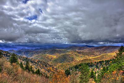 Under The Clouds Blue Ridge Parkway Great Smokey Mountains North Carolina Art Print by Reid Callaway