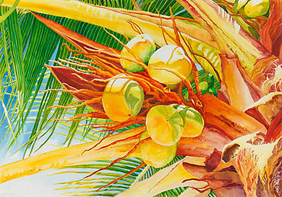 Fronds Painting - Under The Coconut Palm by Janis Grau
