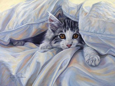 Bed Painting - Under The Comforter by Lucie Bilodeau