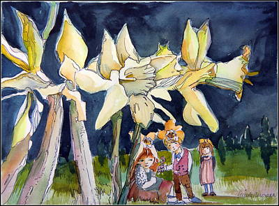Under The Daffodils Original by Mindy Newman