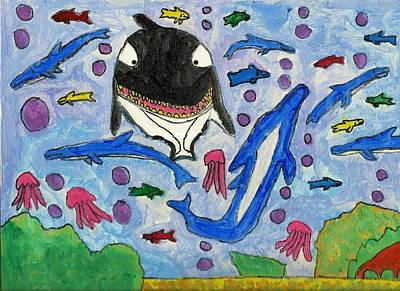 Drucker Painting - Under The Deep Blue Sea by Artists With Autism Inc